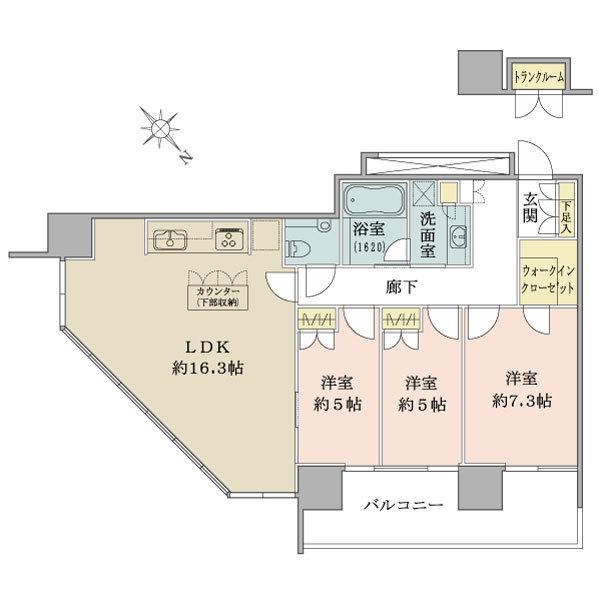 ブリリアグランデみなとみらいパークフロントタワー22階の間取図/22F/8,600万円/3LDK+WIC/82.47 m²