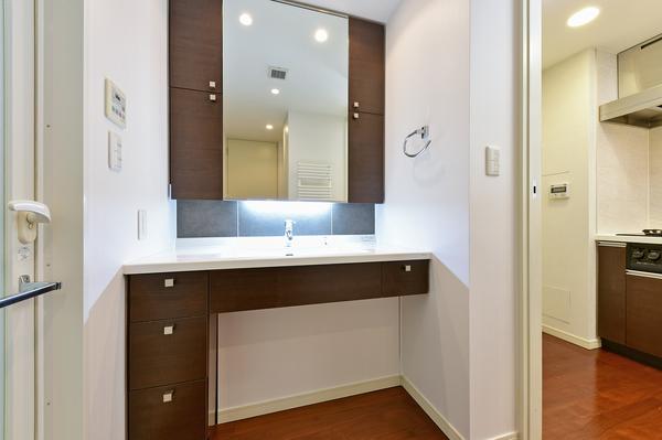 洗面所/バスタオルを乾かしたり、暖房効果もあるタオルウォーマーが設置してあります。