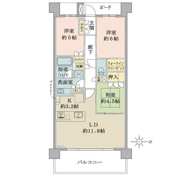ネクサスシーズン戸塚の間取図/5F/3,830万円/3LDK+WIC/70.72 m²