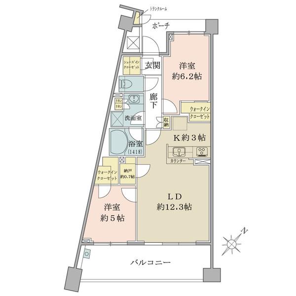 ブリリアアーブリオ戸塚の間取図/3F/2,480万円/2LDK/64.11 m²