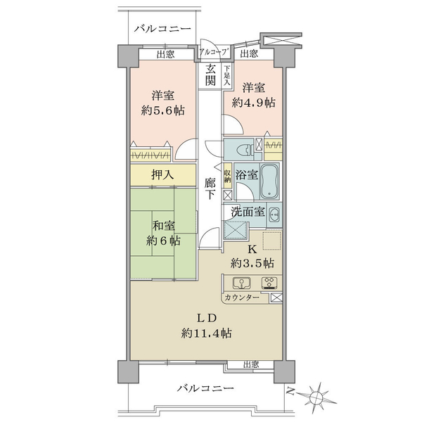 プランヴェール湘南茅ヶ崎の間取図/5F/2,180万円/3LDK/74.19 m²