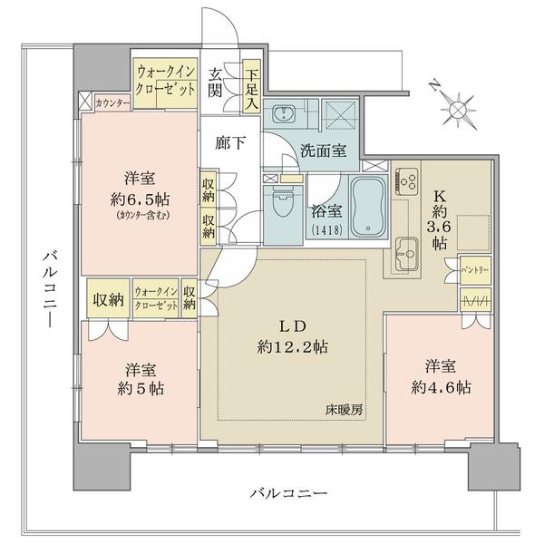 ブリリアタワー横浜東神奈川の間取図/3F/6,920万円/3LDK+2WIC/74.26 m²