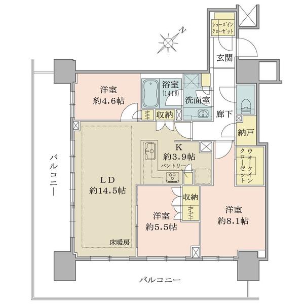 ブリリアタワー横浜東神奈川の間取図/4F/7,970万円/3LDK+WIC+SIC+N/85.46 m²