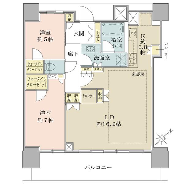 ブリリアタワー横浜東神奈川の間取図/4F/6,930万円/2LDK+2WIC/73.69 m²