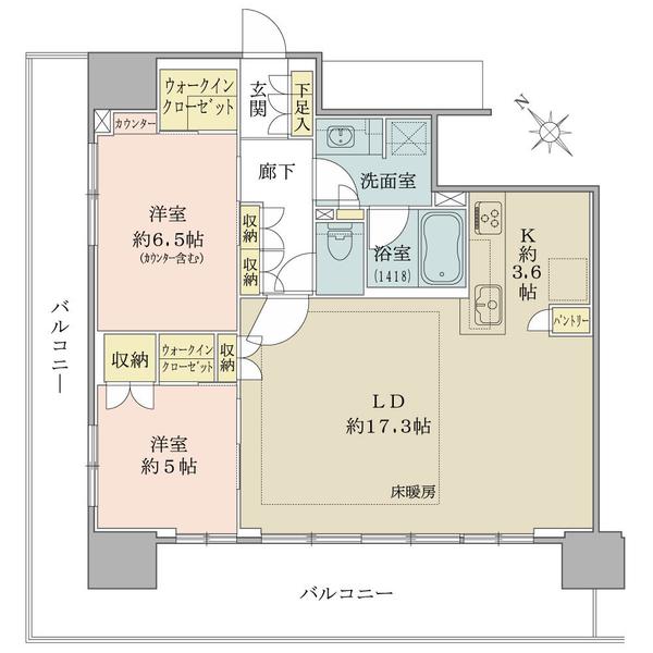 ブリリアタワー横浜東神奈川の間取図/5F/7,180万円/2LDK+2WIC/74.26 m²