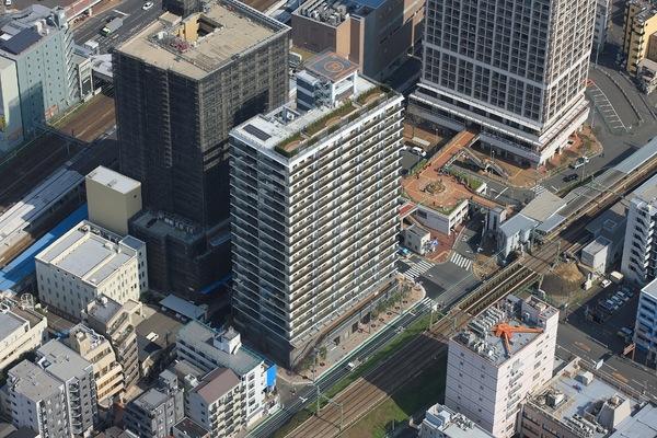現地外観(上空から)スカイガーデン・ヘリポートがある建物です
