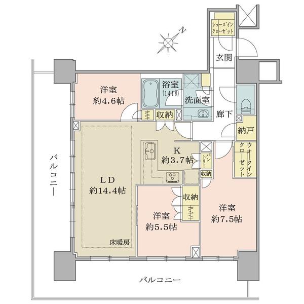 ブリリアタワー横浜東神奈川の間取図/5F/7,980万円/3LDK+WIC+SIC+N/83.01 m²