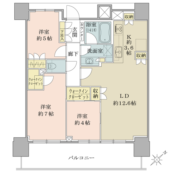 ブリリアタワー横浜東神奈川の間取図/7F/7,180万円/3LDK+2WIC/73.59 m²