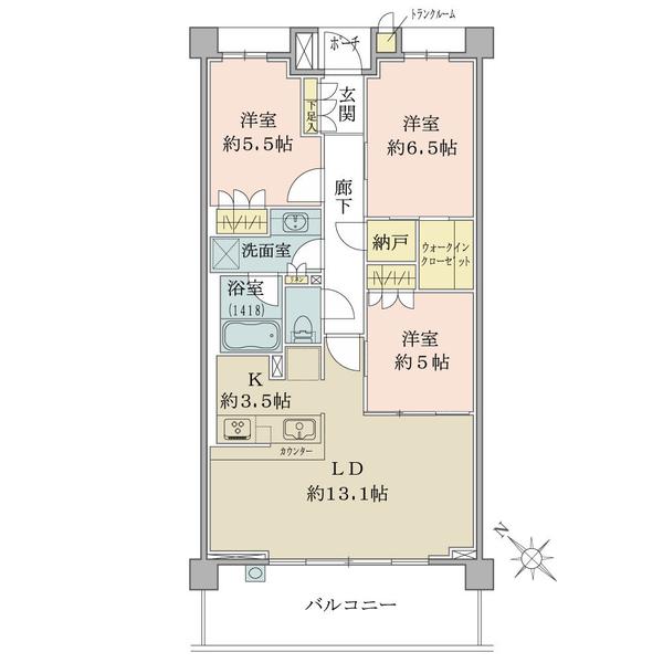 ブリリア湘南本鵠沼の間取図/2F/3,690万円/3LDK+WIC+N+TR/76.22 m²