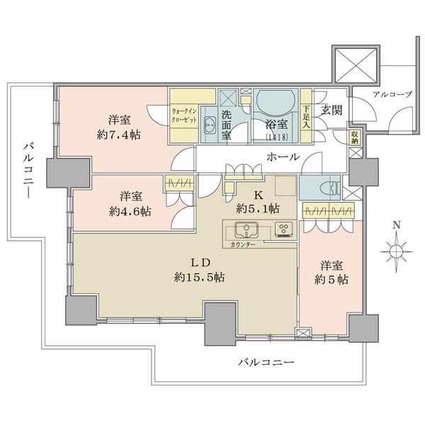 ブリリアタワー川崎の間取図/21F/7,880万円/3LDK+WIC/80.59 m²