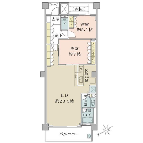 オーシャンテラス葉山の間取図/3F/4,480万円/2LDK/78.95 m²