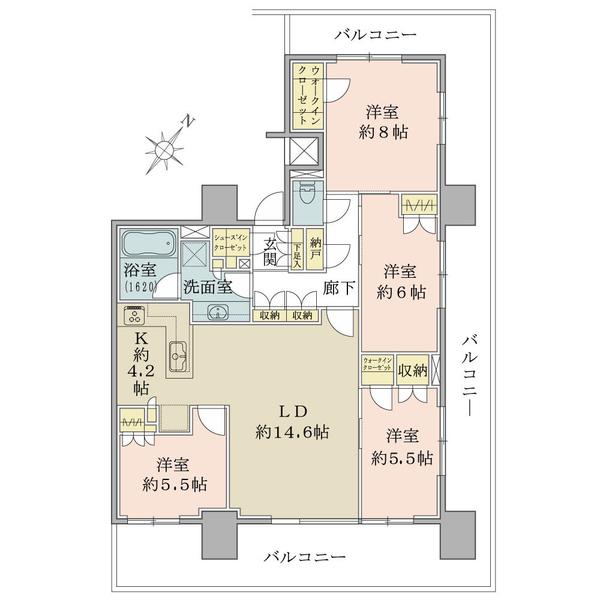 ブリリアタワー横浜東神奈川の間取図/7F/10,800万円/4LDK+2WIC+SIC+N/98.11 m²