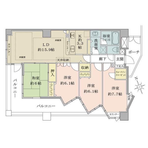 プランヴェール湘南江ノ島の間取図/3F/5,280万円/4LDK+W/93.23 m²