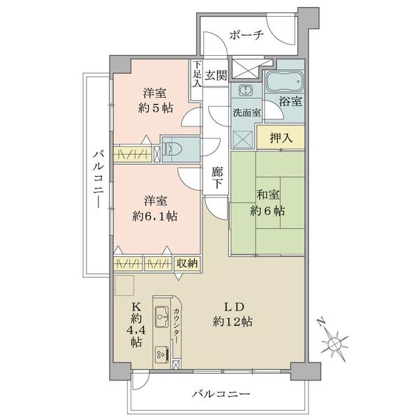 プランヴェール湘南鵠沼の間取図/3F/2,980万円/3LDK/72.55 m²