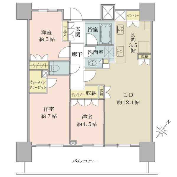 ブリリアタワー横浜東神奈川の間取図/13F/7,980万円/3LDK+WIC/72.24 m²