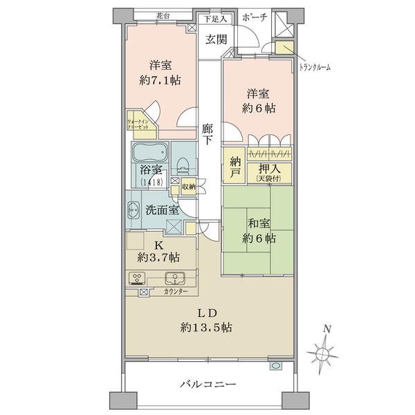 湘南袖ヶ浜レジデンス A棟(オーシャンフロント)の間取図/3F/3,050万円/3LDK+W+N/84.19 m²