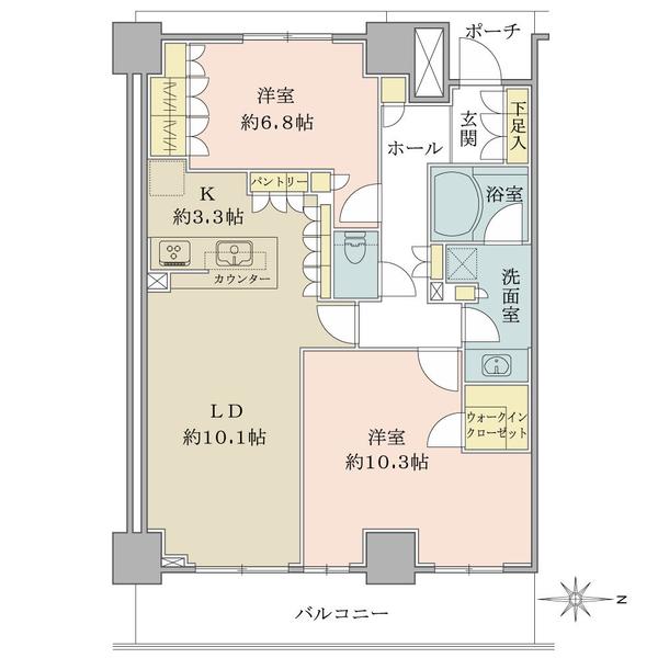 ブリリアタワー川崎の間取図/3F/6,480万円/2LDK/79.14 m²