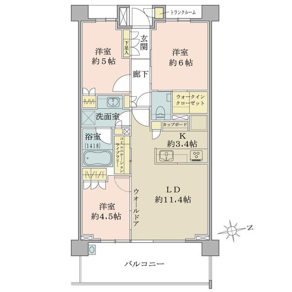 ブリリア東戸塚の間取図/2F/4,380万円/3LDK/66.48 m²