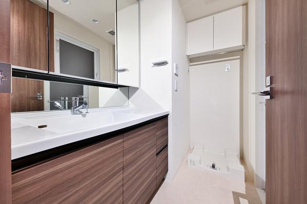 洗面所 洗濯機置場上部に便利な吊戸棚(2020年10月撮影)