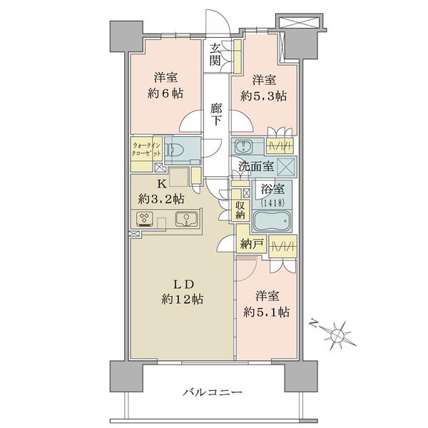 クラッシィハウス湘南藤沢3階の間取図/3F/5,680万円/3LDK+N/70.56 m²
