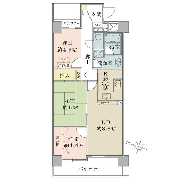 プランヴェール吉野町の間取図/11F/3,180万円/3LDK/61.84 m²