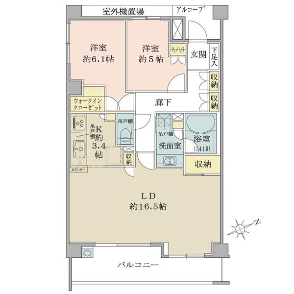 ブリリア鵠沼桜が岡の間取図/2F/3,980万円/2LDK+WIC/72.94 m²