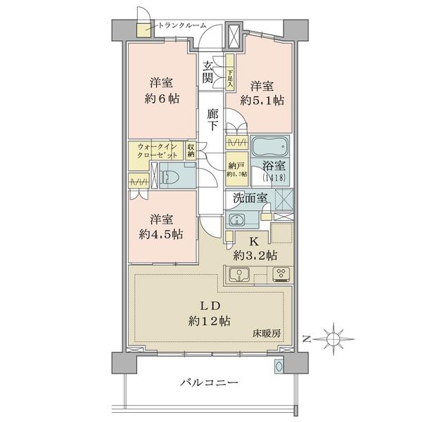 ブリリア東戸塚の間取図/6F/5,500万円/3LDK/70.51 m²