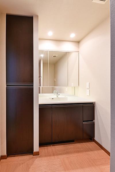 洗面室【三面鏡裏・洗面台下・横と収納スペースが沢山あります】