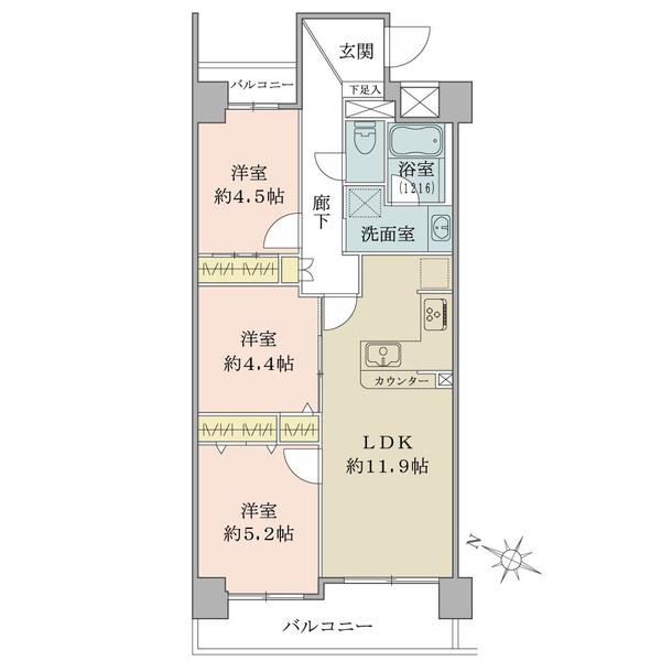 プランヴェール吉野町の間取図/11F/4,199万円/3LDK/61.84 m²