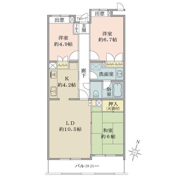 東建ニューハイツ金沢文庫の間取図/7F/2,780万円/3LDK/75.73 m²