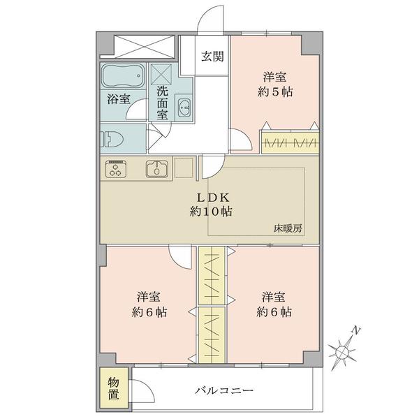 東建検見川マンションの間取図/9F/1,480万円/3LDK/64.32 m²