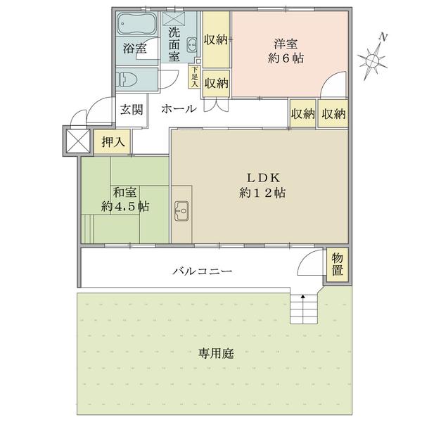 東建北習志野マンションの間取図/1F/780万円/2LDK/58.09 m²