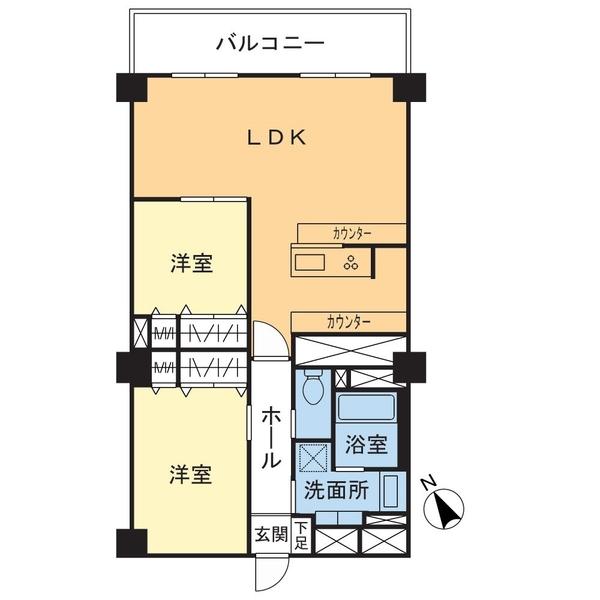2LDK、価格1250万円、専有面積68.19㎡、バルコニー面積7.40㎡、北西向きバルコニー