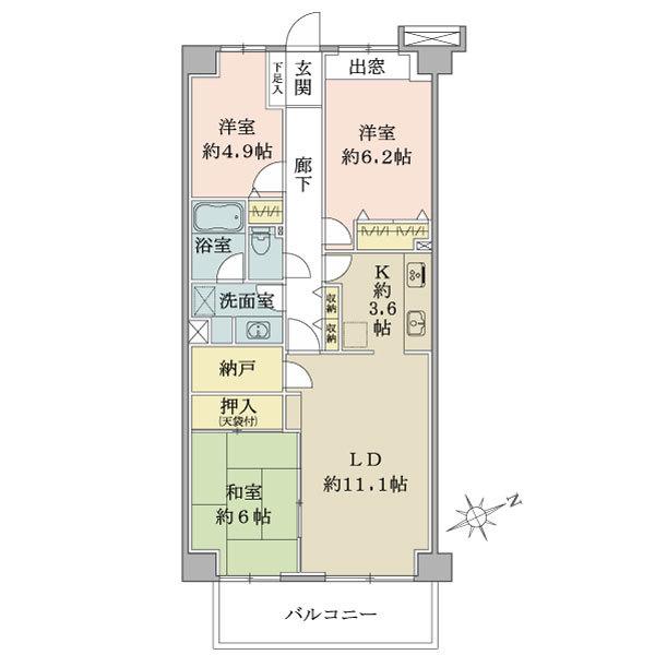 東建ニューハイツ千城台の間取図/6F/1,380万円/3LDK+N/76.8 m²