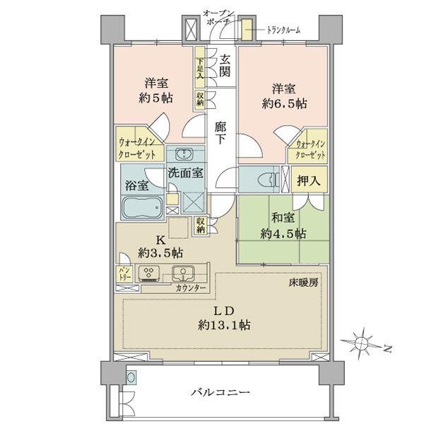 ブリリア稲毛の間取図/3F/3,580万円/3LDK+2WIC/73.57 m²