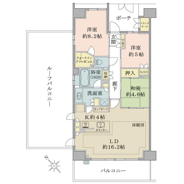 ブリリア稲毛海浜公園の間取図/5F/3,880万円/3LDK+WIC/88.37 m²
