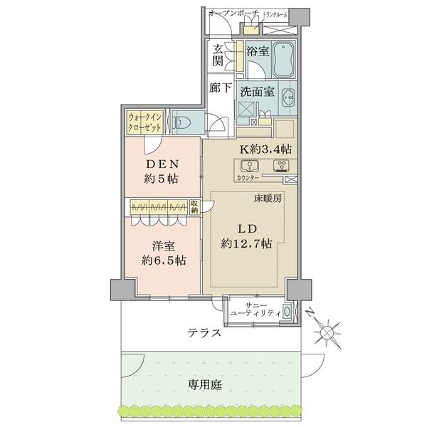 ブリリア稲毛海浜公園の間取図/1F/2,380万円/1LDK+DEN/68.27 m²