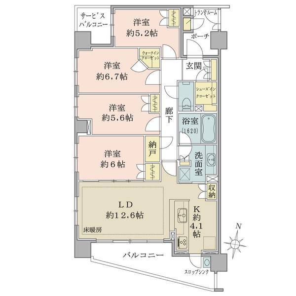ブリリア稲毛の間取図/3F/4,980万円/4LDK+WIC+SIC/94.38 m²