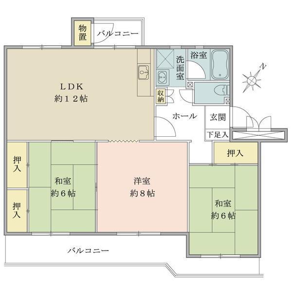 東建ニューハイツ検見川の間取図/2F/1,080万円/3LDK/74.55 m²