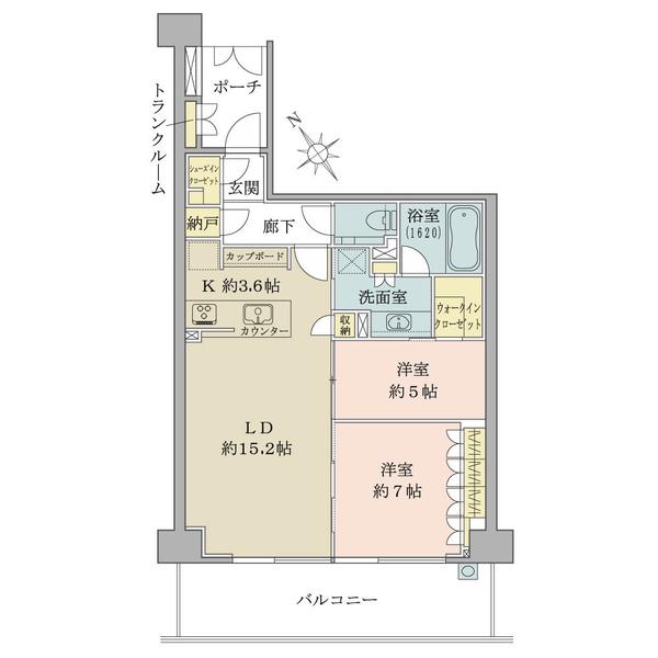 2LDK+WIC+N+SIC、専有面積75.74㎡、バルコニー面積15.80㎡、4階南西向き住戸