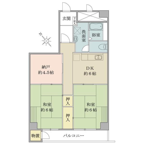 東建検見川マンションB棟の間取図/3F/750万円/2SDK/54.99 m²