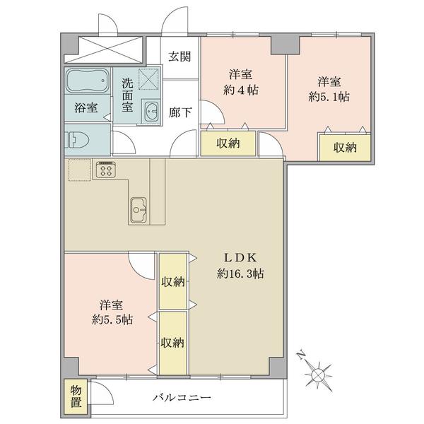 東建検見川マンション B棟の間取図/6F/1,780万円/3LDK/73.66 m²