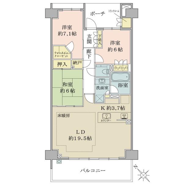 ブリリア稲毛海浜公園の間取図/5F/3,490万円/3LDK+N/92.68 m²