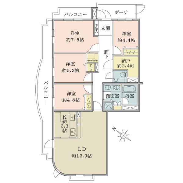 4LDK+納戸、専有面積95.91㎡、バルコニー面積17.50㎡、北西・北東の2方角部屋!