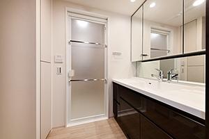洗面台(三面鏡裏収納もある為、コンパクトに収納が可能です)