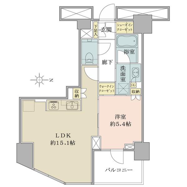 ブリリアタワー代々木公園クラッシィの間取図/3F/8,990万円/1LDK+WIC+SIC/50.36 m²