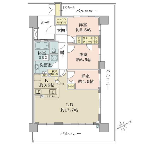 Brillia L-Sio萩山の間取図/8F/3,680万円/3LDK+WIC+SIC+N/83.29 m²