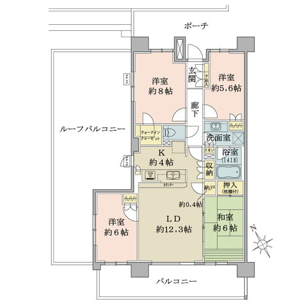 ブリリアシティひばりが丘の間取図/8F/4,380万円/4LDK+N+WIC/89.24 m²