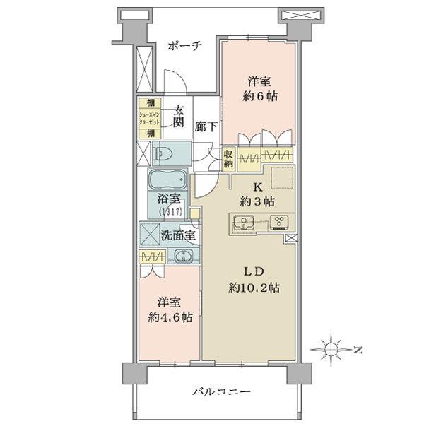 ブリリア小金井桜町の間取図/2F/3,980万円/2LDK/55.31 m²