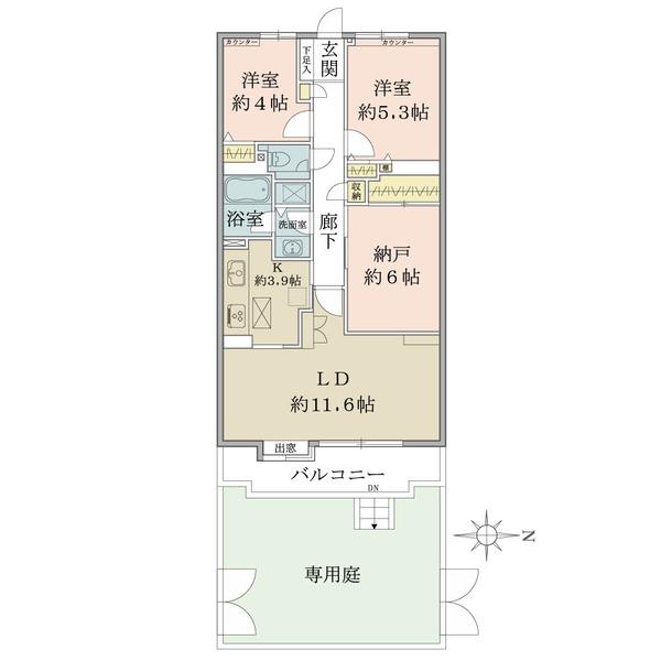 東建ニューハイツ花小金井の間取図/1F/1,999万円/2LDK+s/70.71 m²
